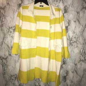J crew yellow and white stripped sweater cardigan